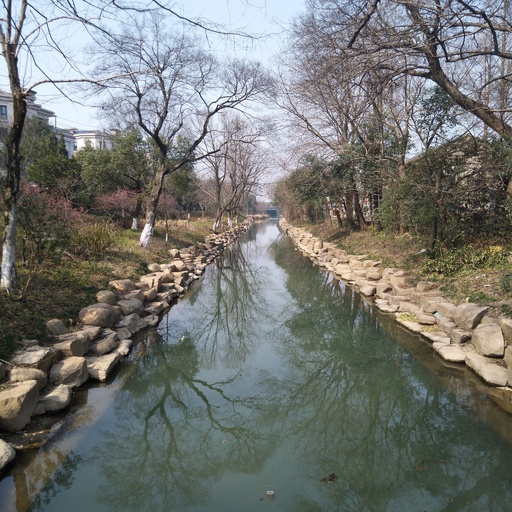 2017春游, 河流, 小溪, 绿水, 倒影, 树影